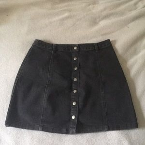 Forever 21 Black Button Up Jean Skirt